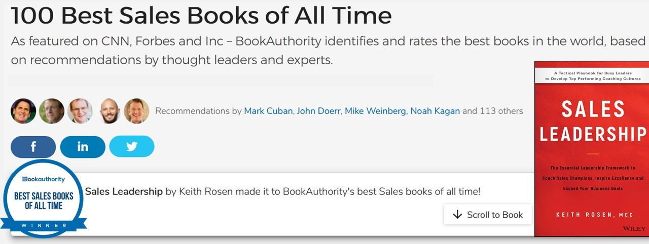 Announcement! SALES LEADERSHIP named one of the 100 Best Sales Books of All Time!